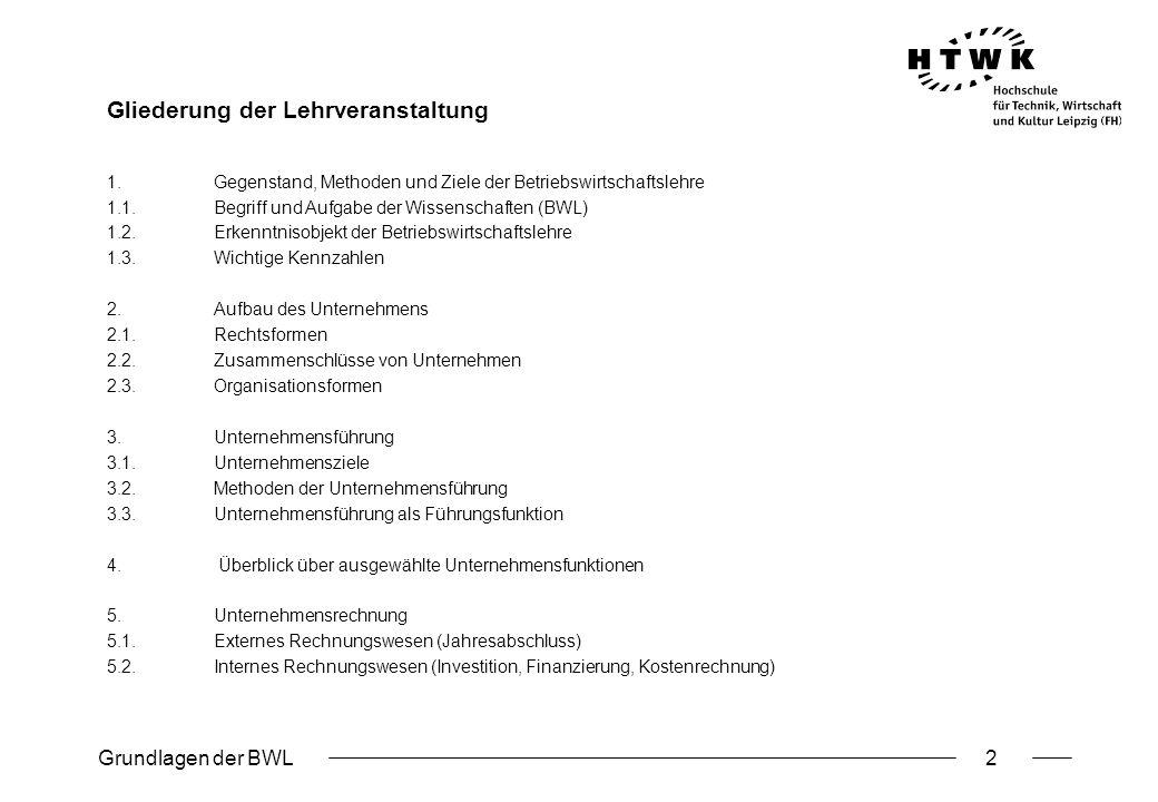 Grundlagen der BWL3 Ausgewählte Literatur: Hopfenbeck, W.: Allgemeine Betriebswirtschafts- und Managementlehre, 14.