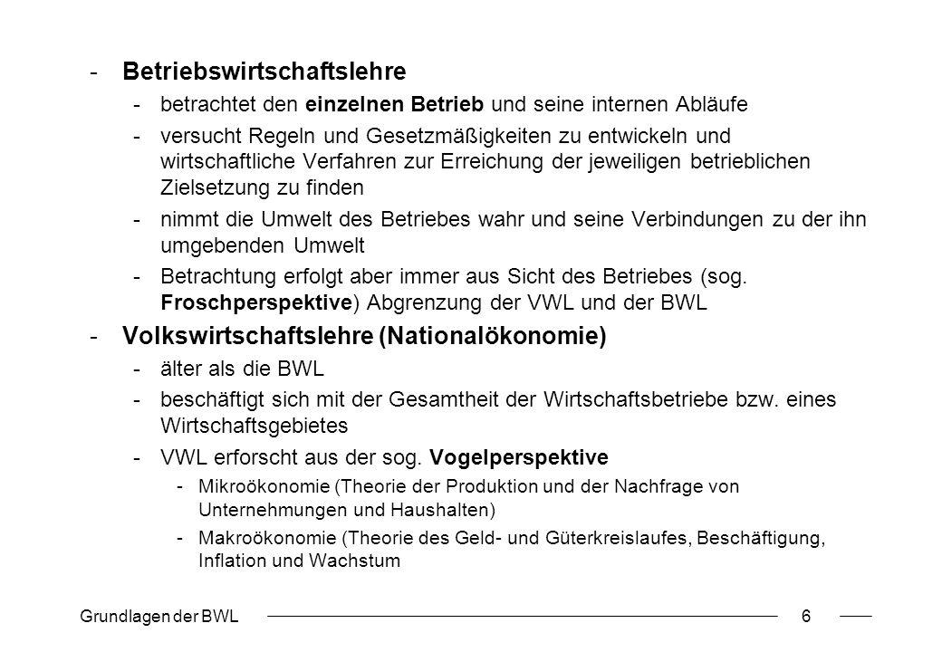 Grundlagen der BWL17 Formalziele (Erfolgsziele) ProduktivitätWirtschaftlichkeitRentabilität u.