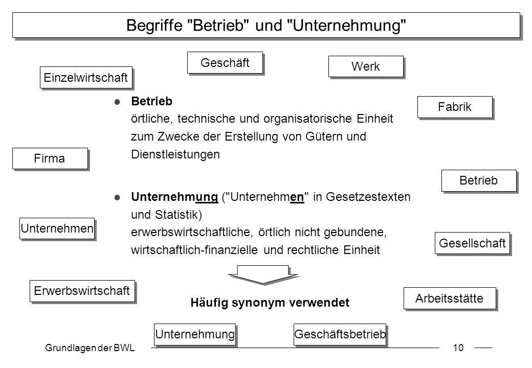 Grundlagen der BWL10 Begriffe