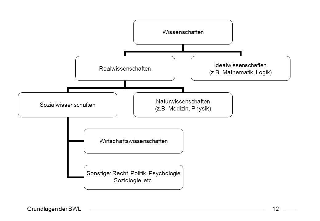 Grundlagen der BWL12 Wissenschaften Realwissenschaften Sozialwissenschaften Wirtschaftswissenschaften Sonstige: Recht, Politik, Psychologie Soziologie