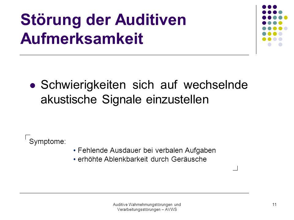 Auditive Wahrnehmungstörungen und Verarbeitungsstörungen – AVWS 11 Störung der Auditiven Aufmerksamkeit Schwierigkeiten sich auf wechselnde akustische