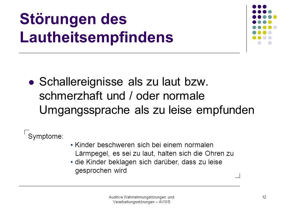 Auditive Wahrnehmungstörungen und Verarbeitungsstörungen – AVWS 12 Störungen des Lautheitsempfindens Schallereignisse als zu laut bzw. schmerzhaft und