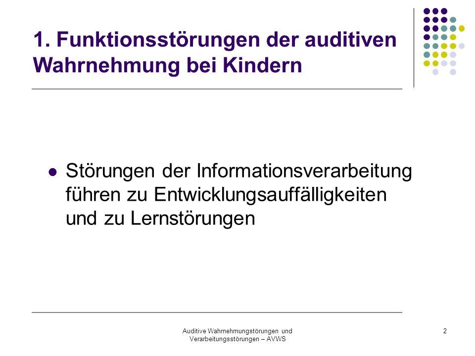 Auditive Wahrnehmungstörungen und Verarbeitungsstörungen – AVWS 2 1. Funktionsstörungen der auditiven Wahrnehmung bei Kindern Störungen der Informatio