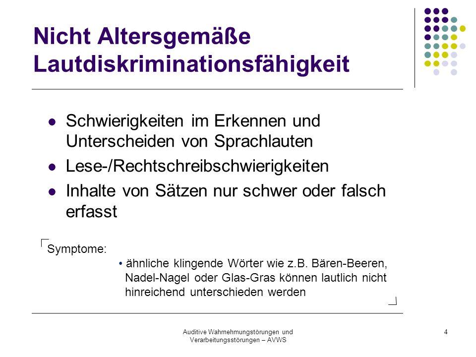 Auditive Wahrnehmungstörungen und Verarbeitungsstörungen – AVWS 4 Nicht Altersgemäße Lautdiskriminationsfähigkeit Schwierigkeiten im Erkennen und Unte