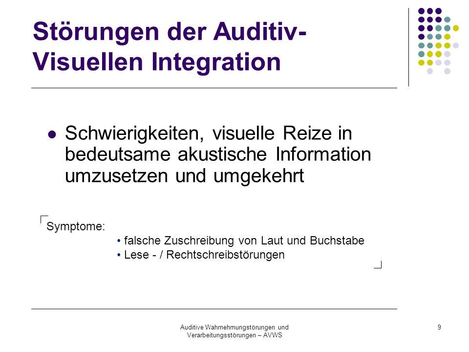 Auditive Wahrnehmungstörungen und Verarbeitungsstörungen – AVWS 9 Störungen der Auditiv- Visuellen Integration Schwierigkeiten, visuelle Reize in bede