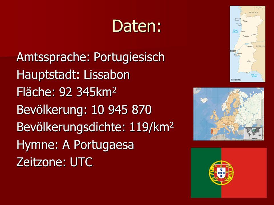 Daten: Amtssprache: Portugiesisch Hauptstadt: Lissabon Fläche: 92 345km 2 Bevölkerung: 10 945 870 Bevölkerungsdichte: 119/km 2 Hymne: A Portugaesa Zei