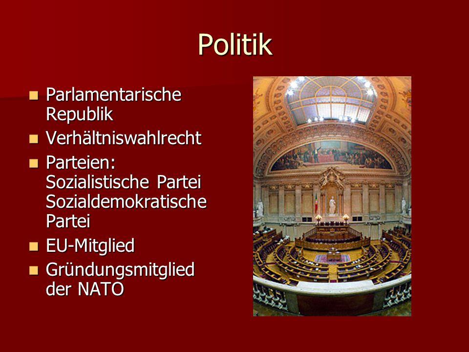 Politik Parlamentarische Republik Parlamentarische Republik Verhältniswahlrecht Verhältniswahlrecht Parteien: Sozialistische Partei Sozialdemokratisch