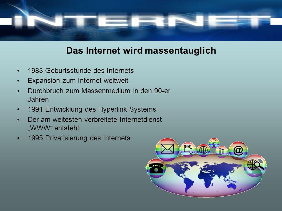 Das Internet wird massentauglich 1983 Geburtsstunde des Internets Expansion zum Internet weltweit Durchbruch zum Massenmedium in den 90-er Jahren 1991 Entwicklung des Hyperlink-Systems Der am weitesten verbreitete Internetdienst WWW entsteht 1995 Privatisierung des Internets