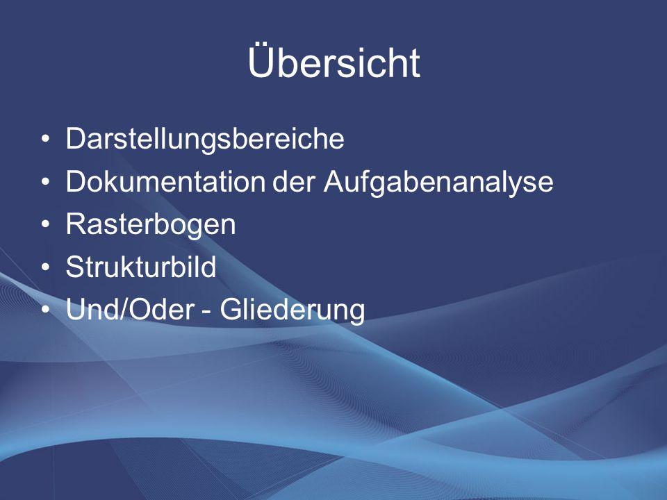 Übersicht Darstellungsbereiche Dokumentation der Aufgabenanalyse Rasterbogen Strukturbild Und/Oder - Gliederung