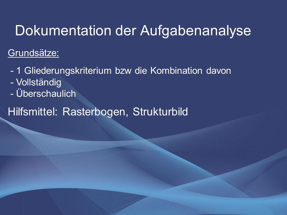 Dokumentation der Aufgabenanalyse - 1 Gliederungskriterium bzw die Kombination davon - Vollständig - Überschaulich Grundsätze: Hilfsmittel: Rasterboge