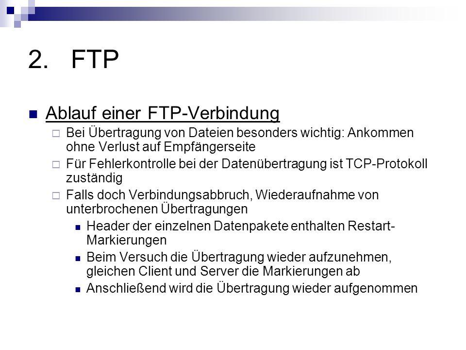 2.FTP Ablauf einer FTP-Verbindung Bei Übertragung von Dateien besonders wichtig: Ankommen ohne Verlust auf Empfängerseite Für Fehlerkontrolle bei der