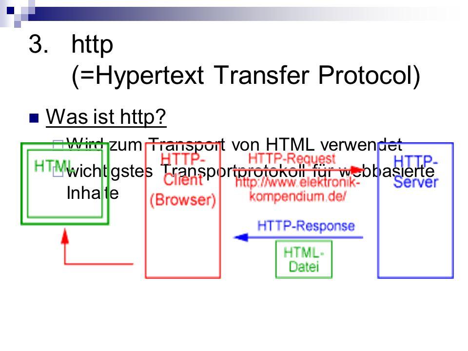 3.http (=Hypertext Transfer Protocol) Was ist http? Wird zum Transport von HTML verwendet wichtigstes Transportprotokoll für webbasierte Inhalte