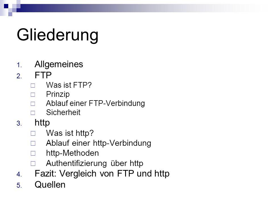 Gliederung 1. Allgemeines 2. FTP Was ist FTP? Prinzip Ablauf einer FTP-Verbindung Sicherheit 3. http Was ist http? Ablauf einer http-Verbindung http-M