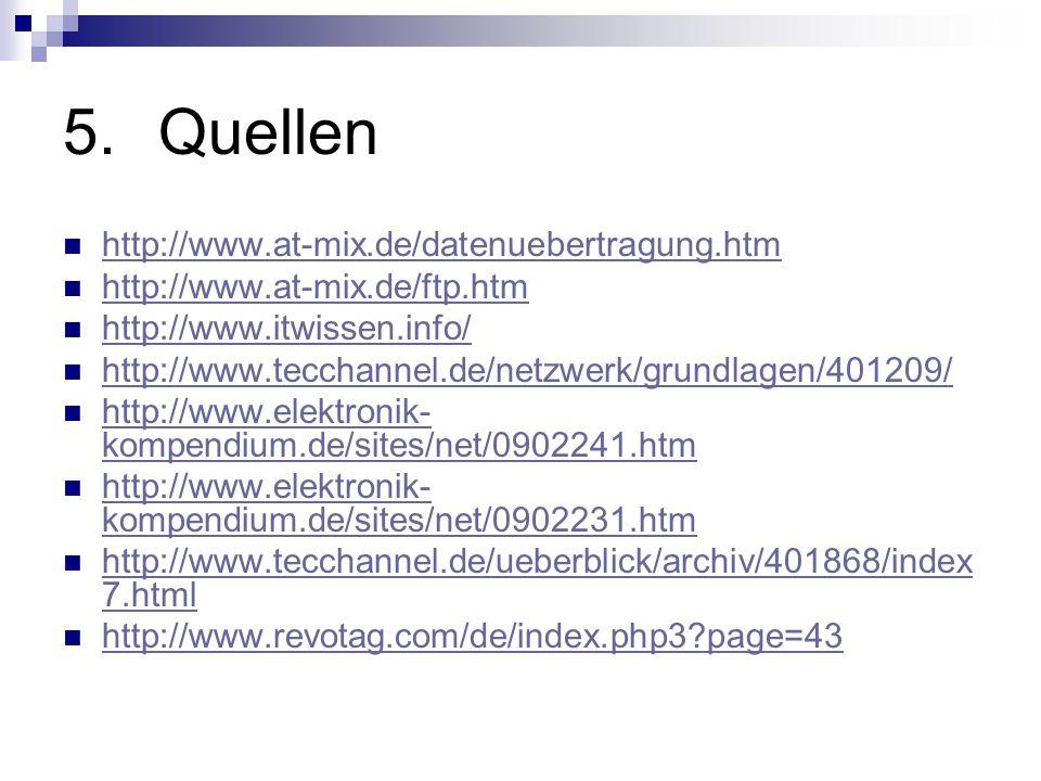 5.Quellen http://www.at-mix.de/datenuebertragung.htm http://www.at-mix.de/ftp.htm http://www.itwissen.info/ http://www.tecchannel.de/netzwerk/grundlag