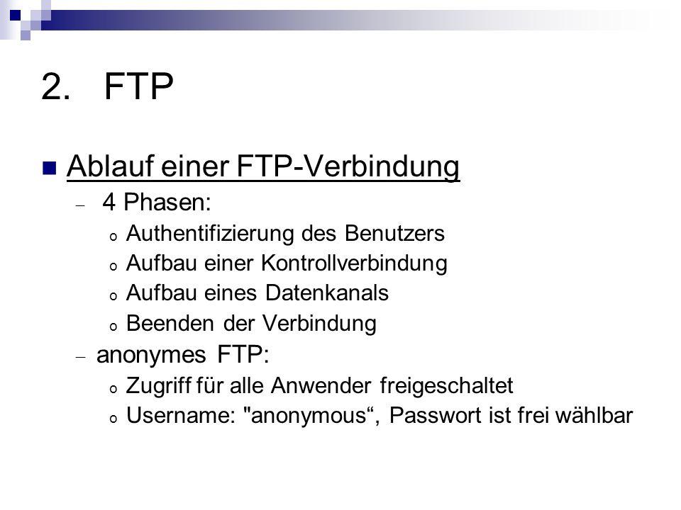 2.FTP Ablauf einer FTP-Verbindung 4 Phasen: o Authentifizierung des Benutzers o Aufbau einer Kontrollverbindung o Aufbau eines Datenkanals o Beenden d
