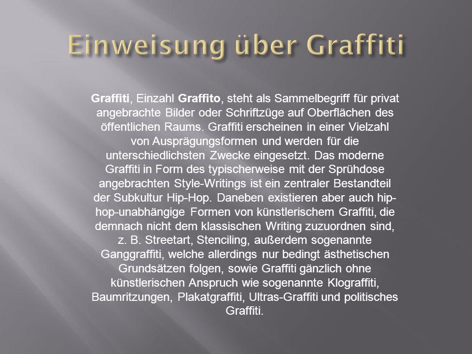 Graffiti, Einzahl Graffito, steht als Sammelbegriff für privat angebrachte Bilder oder Schriftzüge auf Oberflächen des öffentlichen Raums.