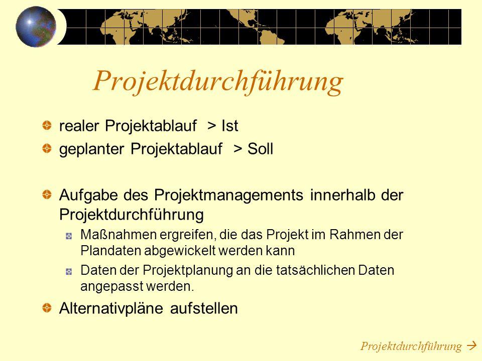 realer Projektablauf > Ist geplanter Projektablauf > Soll Aufgabe des Projektmanagements innerhalb der Projektdurchführung Maßnahmen ergreifen, die da