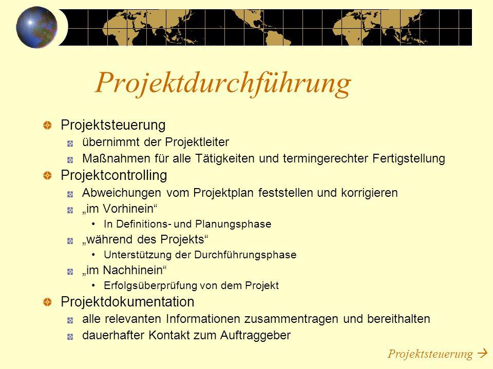 Projektsteuerung übernimmt der Projektleiter Maßnahmen für alle Tätigkeiten und termingerechter Fertigstellung Projektcontrolling Abweichungen vom Pro