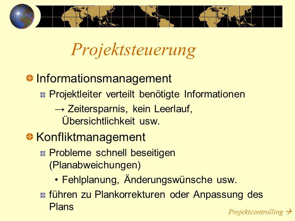 Informationsmanagement Projektleiter verteilt benötigte Informationen Zeitersparnis, kein Leerlauf, Übersichtlichkeit usw. Konfliktmanagement Probleme