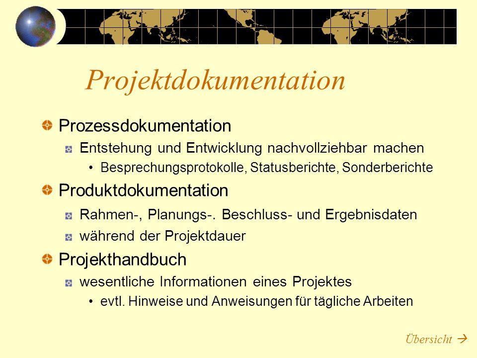 Prozessdokumentation Entstehung und Entwicklung nachvollziehbar machen Besprechungsprotokolle, Statusberichte, Sonderberichte Produktdokumentation Rah