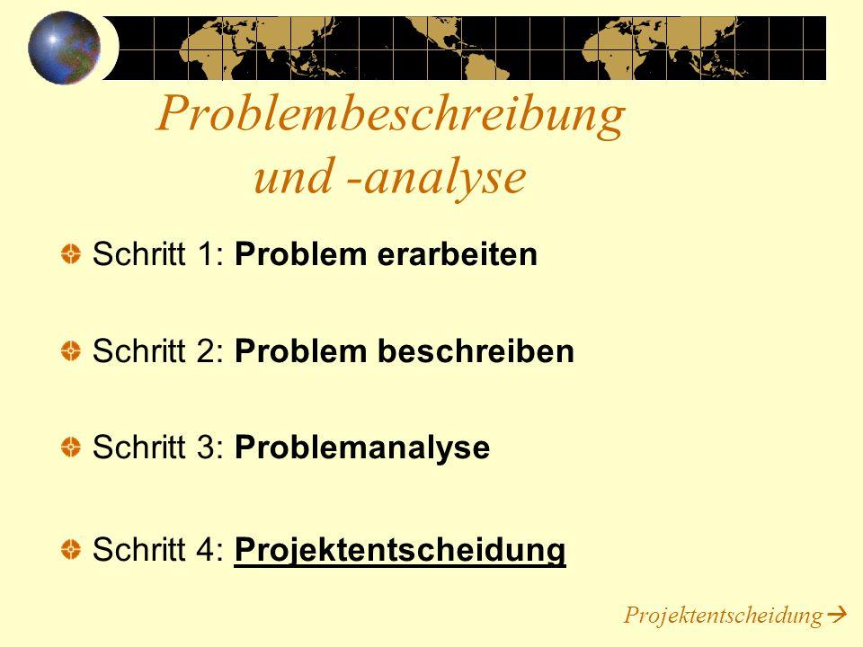 Machbarkeit: Das Projekt muss realisierbar Projektrisiko: Das Risiko muss überschaubar sein Wirtschaftlichkeit: Der Erfolg des Projektes muss größer als der Aufwand sein.