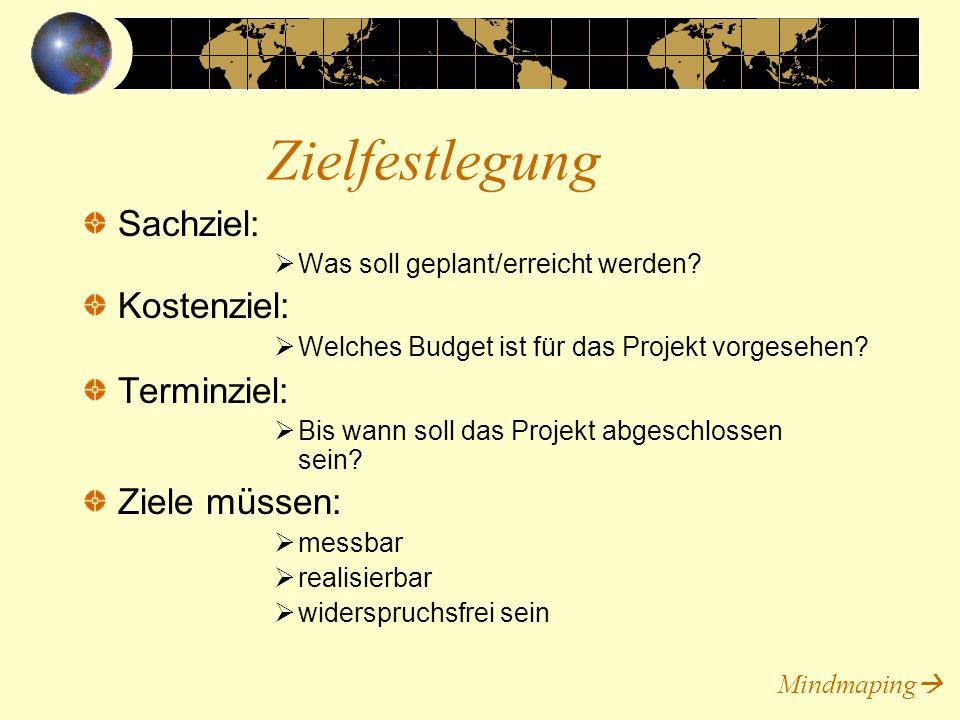 Sachziel: Was soll geplant/erreicht werden? Kostenziel: Welches Budget ist für das Projekt vorgesehen? Terminziel: Bis wann soll das Projekt abgeschlo