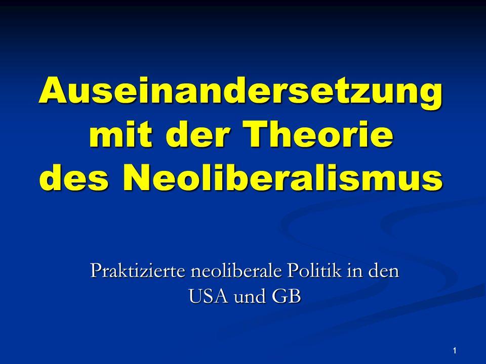 1 Auseinandersetzung mit der Theorie des Neoliberalismus Praktizierte neoliberale Politik in den USA und GB
