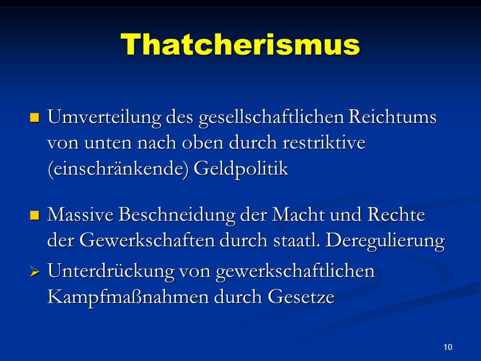 9 Thatcherismus Privatisierung großer Staatsbetriebe Privatisierung großer Staatsbetriebe Subvention + Steuervorteile auf Kosten der Steuerzahler Subv