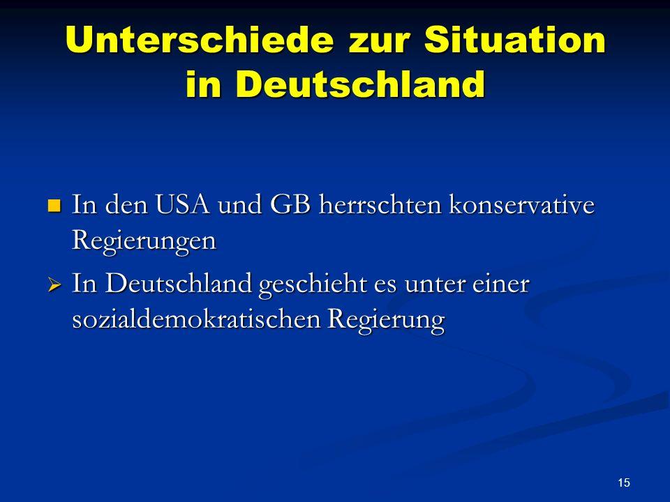 14 Unterschiede zur Situation in Deutschland Kürzung von Beihilfen für Heizkosten trotz Todesfällen in der Bevölkerung Kürzung von Beihilfen für Heizk
