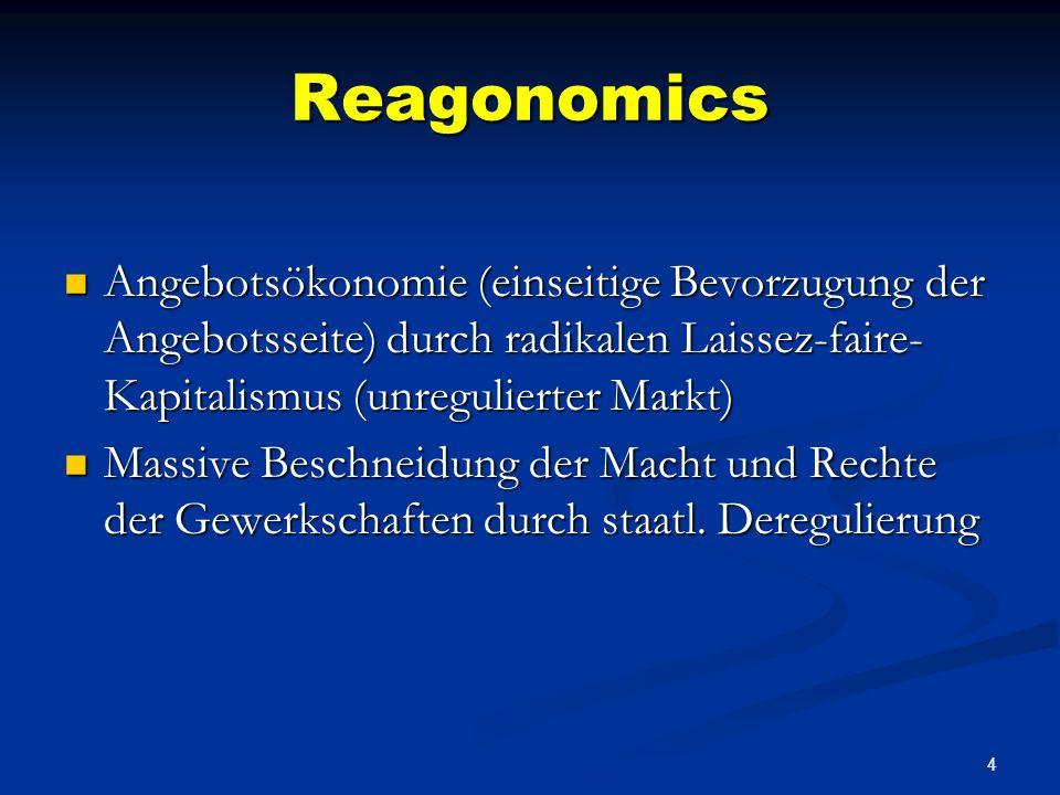 4 Reagonomics Angebotsökonomie (einseitige Bevorzugung der Angebotsseite) durch radikalen Laissez-faire- Kapitalismus (unregulierter Markt) Angebotsökonomie (einseitige Bevorzugung der Angebotsseite) durch radikalen Laissez-faire- Kapitalismus (unregulierter Markt) Massive Beschneidung der Macht und Rechte der Gewerkschaften durch staatl.
