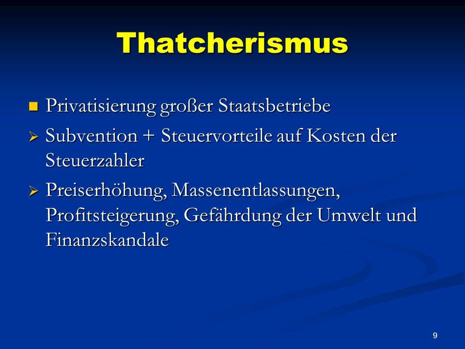 9 Thatcherismus Privatisierung großer Staatsbetriebe Privatisierung großer Staatsbetriebe Subvention + Steuervorteile auf Kosten der Steuerzahler Subvention + Steuervorteile auf Kosten der Steuerzahler Preiserhöhung, Massenentlassungen, Profitsteigerung, Gefährdung der Umwelt und Finanzskandale Preiserhöhung, Massenentlassungen, Profitsteigerung, Gefährdung der Umwelt und Finanzskandale