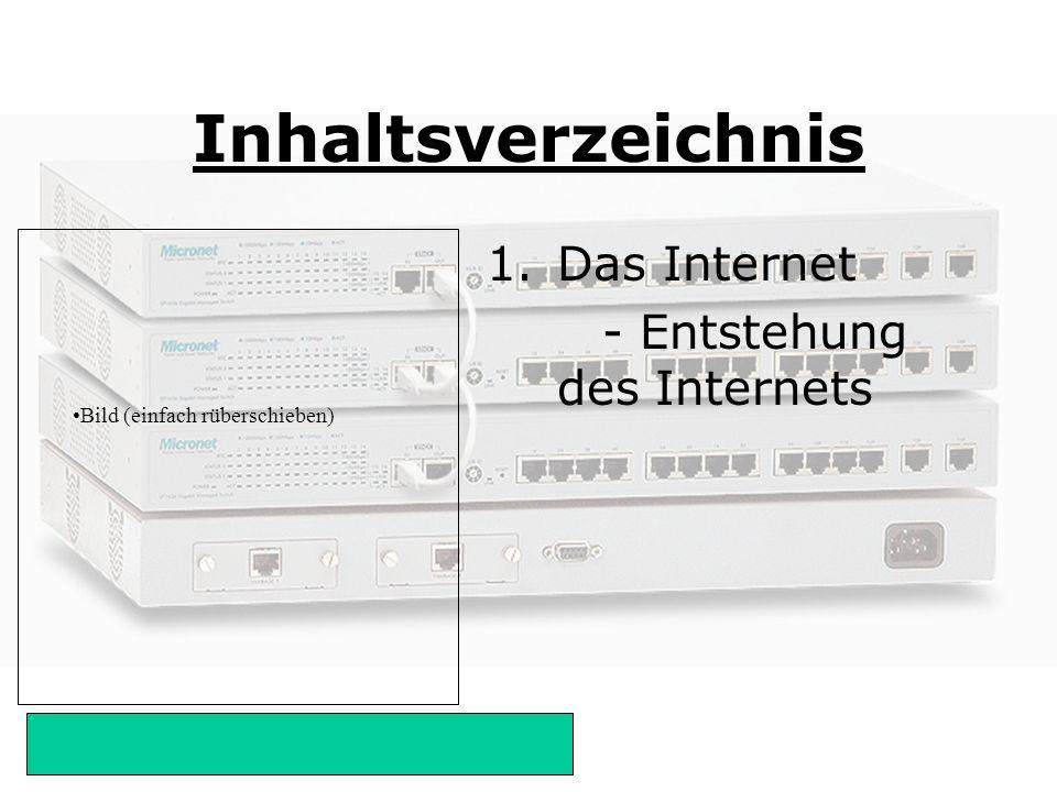Bild (einfach rüberschieben) Die Entstehung des Internets 1958:Advanced Research Project: Zusammenbrechen jeglicher Kommunikation z.B.