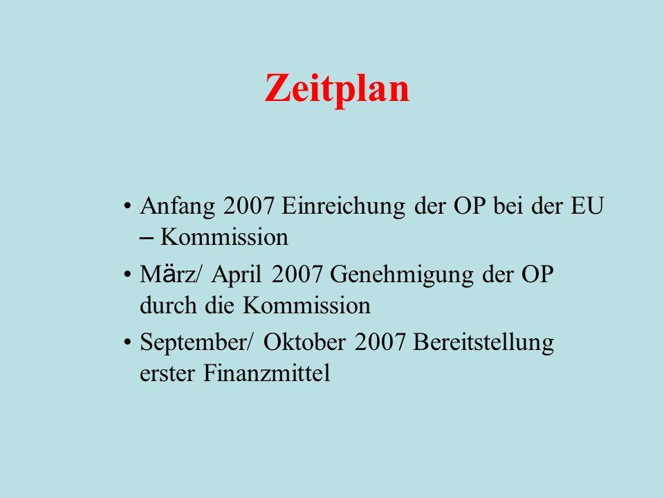Zeitplan Anfang 2007 Einreichung der OP bei der EU – Kommission M ä rz/ April 2007 Genehmigung der OP durch die Kommission September/ Oktober 2007 Bereitstellung erster Finanzmittel