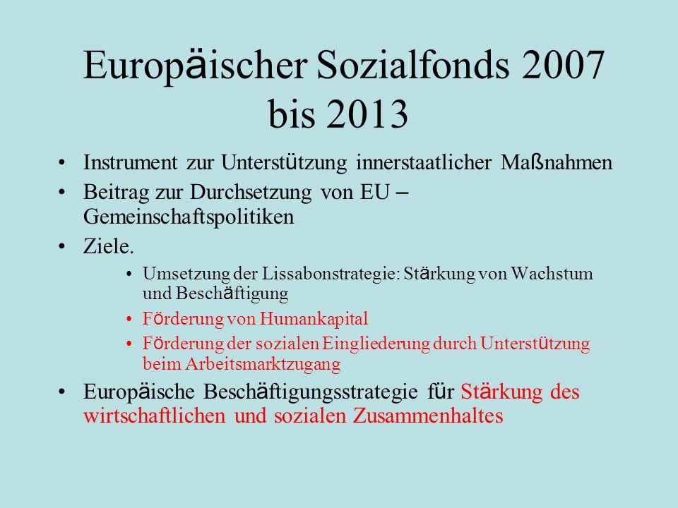 Europ ä ischer Sozialfonds 2007 bis 2013 Instrument zur Unterst ü tzung innerstaatlicher Ma ß nahmen Beitrag zur Durchsetzung von EU – Gemeinschaftspolitiken Ziele.