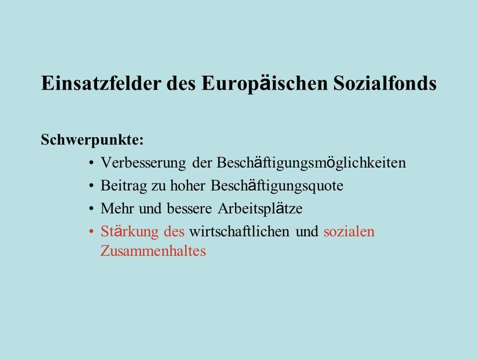 F ö rderbereiche des Europ ä ischen Sozialfonds ca.