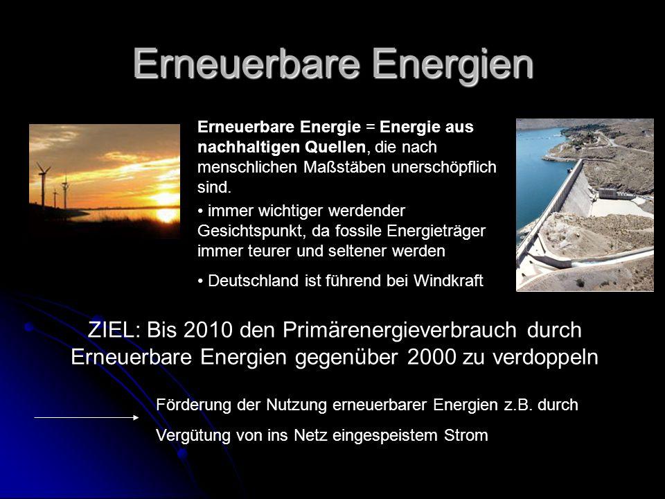 Erneuerbare Energien ZIEL: Bis 2010 den Primärenergieverbrauch durch Erneuerbare Energien gegenüber 2000 zu verdoppeln Förderung der Nutzung erneuerbarer Energien z.B.