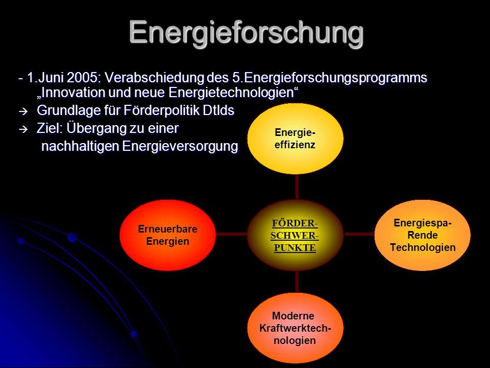 Energieforschung - 1.Juni 2005: Verabschiedung des 5.Energieforschungsprogramms Innovation und neue Energietechnologien Grundlage für Förderpolitik Dtlds Grundlage für Förderpolitik Dtlds Ziel: Übergang zu einer Ziel: Übergang zu einer nachhaltigen Energieversorgung nachhaltigen Energieversorgung FÖRDER- SCHWER- PUNKTE Energie- effizienz Energiespa- Rende Technologien Moderne Kraftwerktech- nologien Erneuerbare Energien