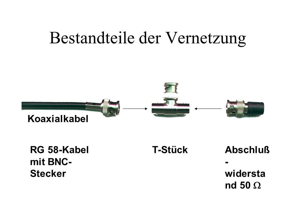 Netzwerkadapter (NIC) RG 58-Kabel mit T-Stück Anschluß an das Kabel