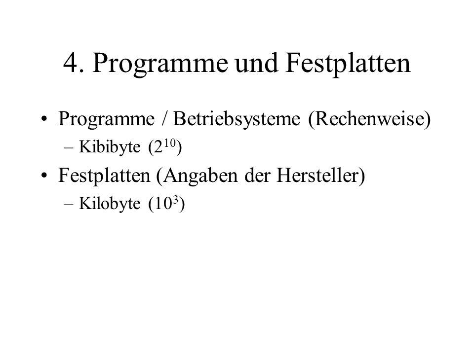 4. Programme und Festplatten Programme / Betriebsysteme (Rechenweise) –Kibibyte (2 10 ) Festplatten (Angaben der Hersteller) –Kilobyte (10 3 )