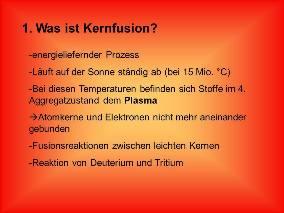 Gliederung 1.Was ist Kernfusion? 2.Grundprinzipien 3.Aufbau und Funktion eines Fusionskraftwerkes 4.Standortbedingungen 5.Vor- und Nachteile 6.Zukunft