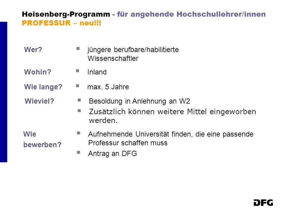 Heisenberg-Programm - für angehende Hochschullehrer/innen PROFESSUR – neu!!! Wer? jüngere berufbare/habilitierte Wissenschaftler Wohin? Inland Wie lan