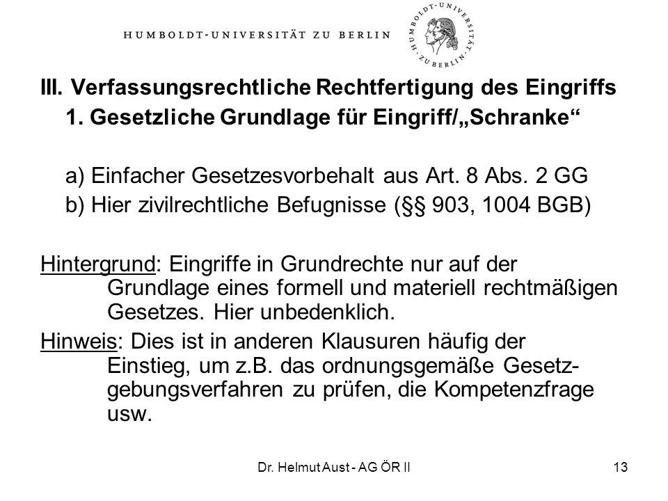 Dr. Helmut Aust - AG ÖR II13 III. Verfassungsrechtliche Rechtfertigung des Eingriffs 1. Gesetzliche Grundlage für Eingriff/Schranke a) Einfacher Geset