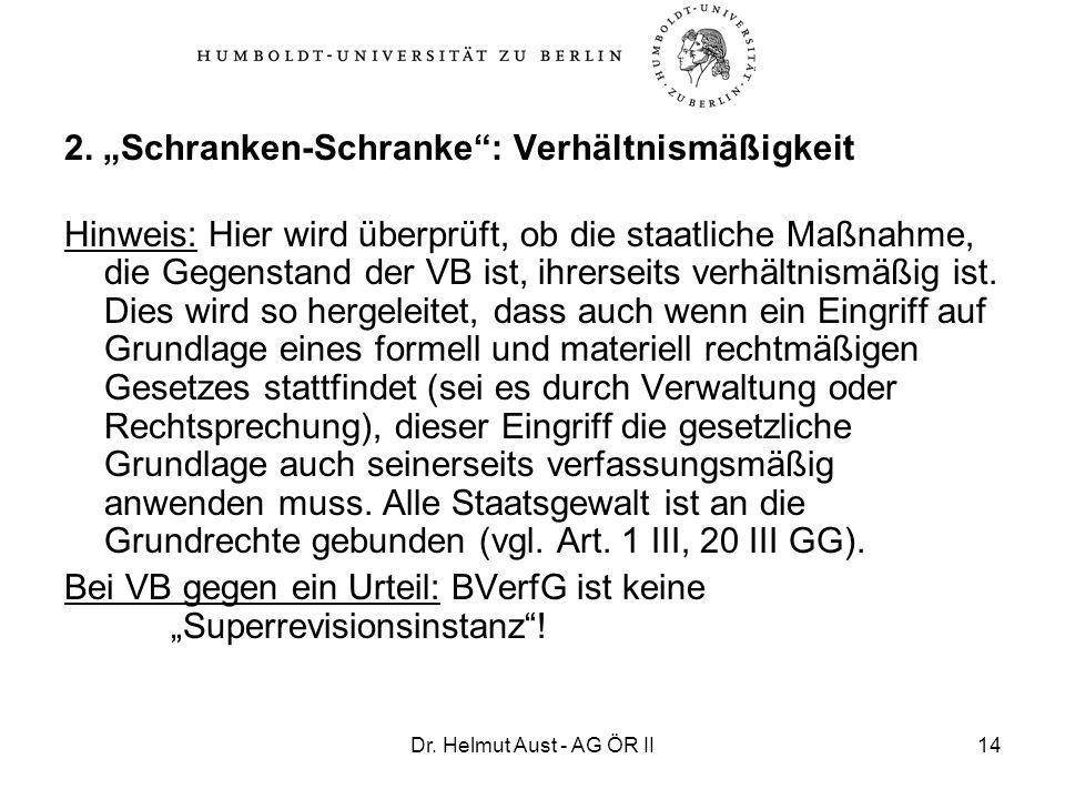 Dr. Helmut Aust - AG ÖR II14 2. Schranken-Schranke: Verhältnismäßigkeit Hinweis: Hier wird überprüft, ob die staatliche Maßnahme, die Gegenstand der V