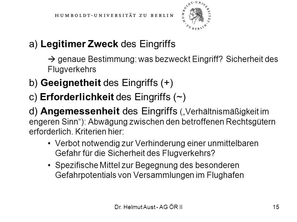 Dr. Helmut Aust - AG ÖR II15 a) Legitimer Zweck des Eingriffs genaue Bestimmung: was bezweckt Eingriff? Sicherheit des Flugverkehrs b) Geeignetheit de