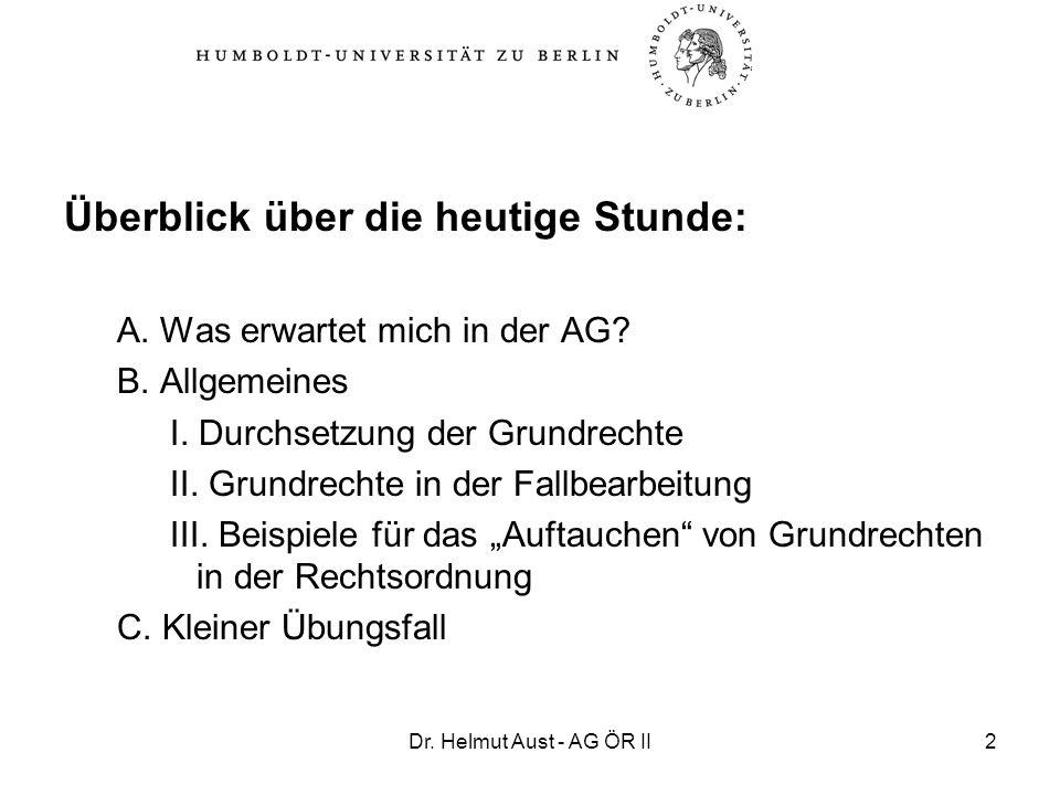 Dr. Helmut Aust - AG ÖR II2 Überblick über die heutige Stunde: A. Was erwartet mich in der AG? B. Allgemeines I. Durchsetzung der Grundrechte II. Grun