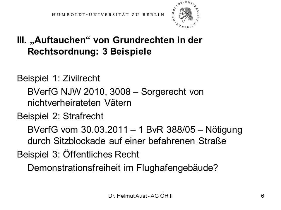 Dr. Helmut Aust - AG ÖR II6 III. Auftauchen von Grundrechten in der Rechtsordnung: 3 Beispiele Beispiel 1: Zivilrecht BVerfG NJW 2010, 3008 – Sorgerec