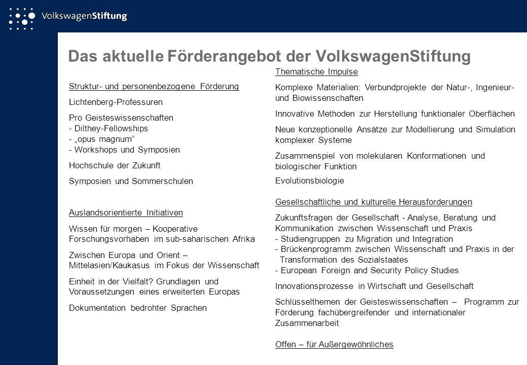 Das aktuelle Förderangebot der VolkswagenStiftung Struktur- und personenbezogene Förderung Lichtenberg-Professuren Pro Geisteswissenschaften - Dilthey