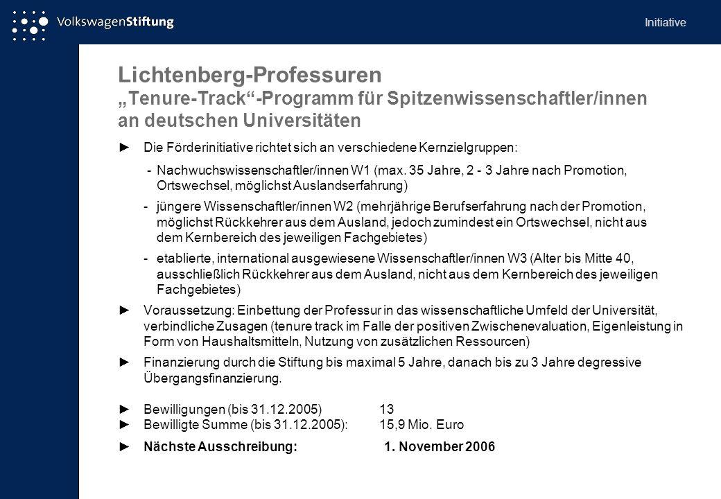 Lichtenberg-Professuren Tenure-Track-Programm für Spitzenwissenschaftler/innen an deutschen Universitäten Die Förderinitiative richtet sich an verschi