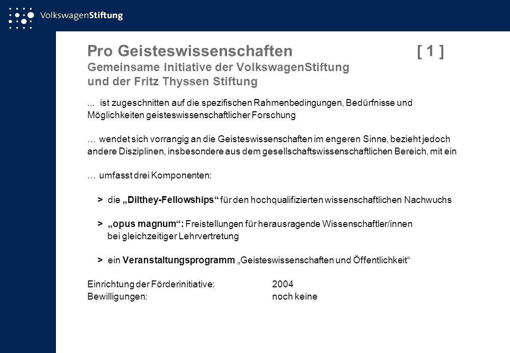 Pro Geisteswissenschaften[ 1 ] Gemeinsame Initiative der VolkswagenStiftung und der Fritz Thyssen Stiftung... ist zugeschnitten auf die spezifischen R