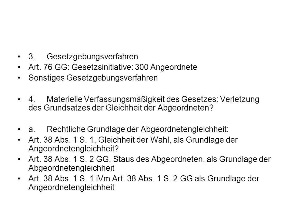 3.Gesetzgebungsverfahren Art. 76 GG: Gesetzsinitiative: 300 Angeordnete Sonstiges Gesetzgebungsverfahren 4.Materielle Verfassungsmäßigkeit des Gesetze